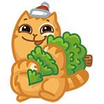 Набор стикеров «Новогодний котик Персик» для Telegram